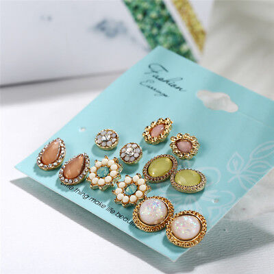(6 Pairs/Set Flower Crystal Stud Earrings Women Jewelry Dazzling Cubic Water Drop)