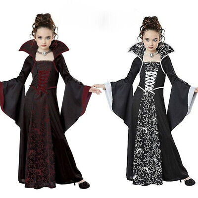 Mittelalter 4-12 Jahre Kinder Lace up Print Lange Kleid Halloween Cosplay Kostüm ()