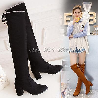 Overkneestiefel Damenschuhe Einfach Spitz Zehe NEU Hot Boots Plusgröße Gr.34-50 (Plus Größe Damen Stiefel)
