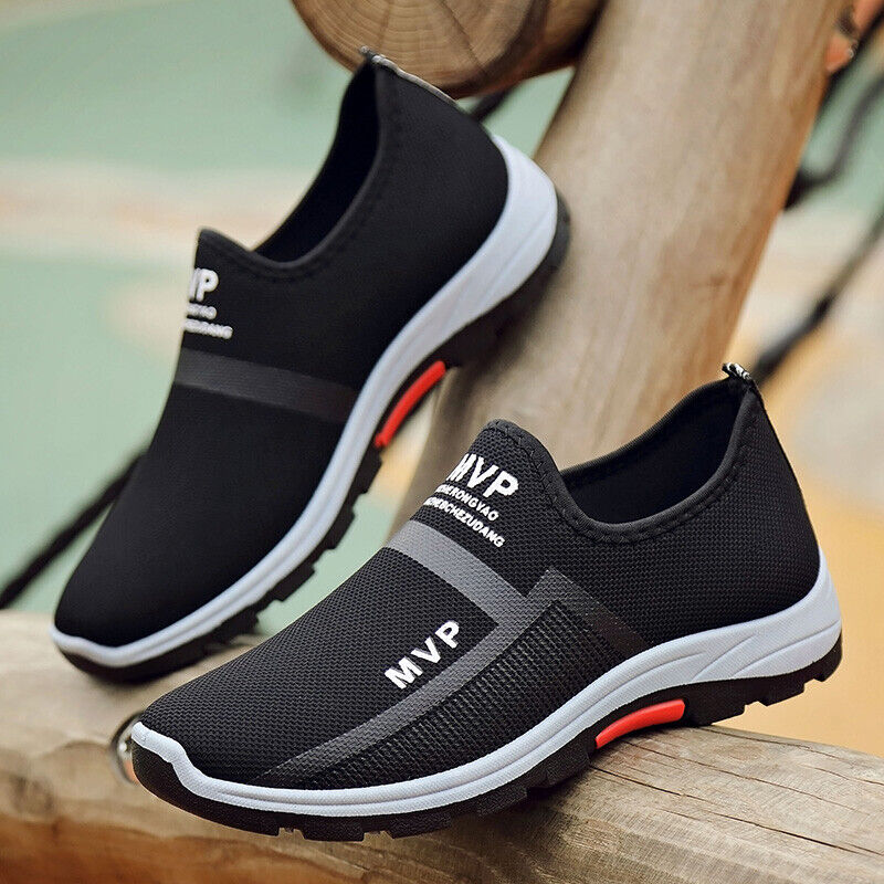 Mens Flat Loafers Slip On Breathable Casual Walking Antiskid Leather Shoes Size