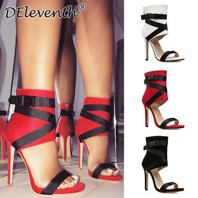 Sexy Womens Stiletto High Heels Sandals Ladies Strappy Peep Toe Party Shoes Zip