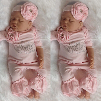 US Newborn Baby Girl 3D Flowers Romper Bodysuit Jumpsuit Headband Outfit - Girls Clothing
