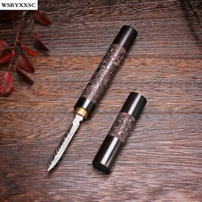 Dragon and Phoenix Pattern Knife Ebony Wood Puer Tea Knife Tea Accessories