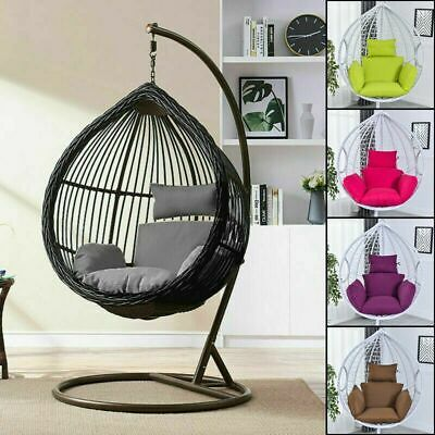 Foldable Wicker Swing Egg Chair Hanging Chair w/ Cushion Sta