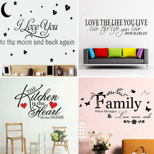 Home Decoration - Quote Mural Words Art Vinyl Wall Sticker Home Kitchen Room Decal Decor Family UK