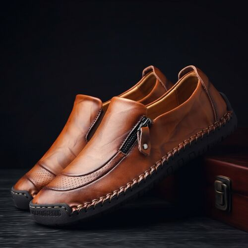 Leisure Men Leather Casual Zipper Driving Shoes New Breathable Loafers Moccasins