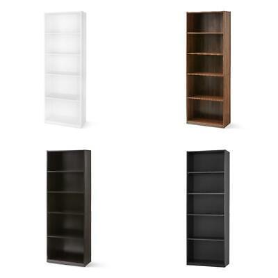 adjustable 5 shelf wood bookcase book storage