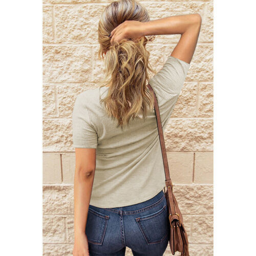 Summer Women Casual Solid T Shirt Button Crew Neck Short Sleeve Blouse Slim Top Clothing, Shoes & Accessories
