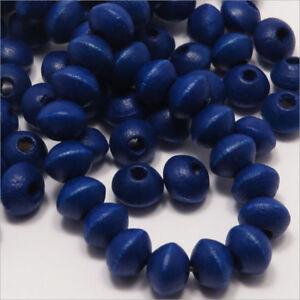 Lot-de-50-Perles-en-Bois-Rondelles-6x8mm-Bleu-Outremer
