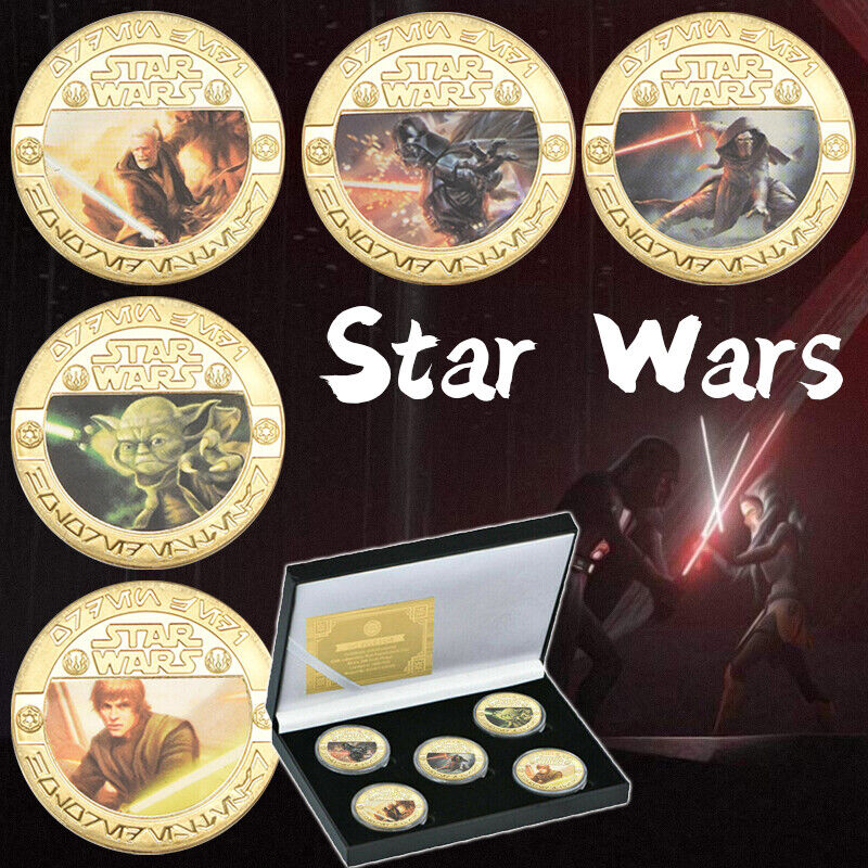 5pcs Star Wars Gold Commemorative Coins Set In Box Souvenir Gifts for Collection