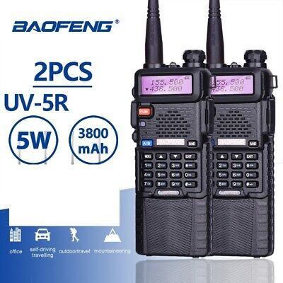 2 PCS Baofeng uv-5r 5W 3800 MAH Band Radio Portable Two-Way radio