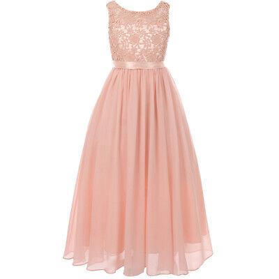 Elegant Blush Sleeveless Lace Bodice Chiffon Skirt Formal Maxi Girl Dresses Bodice Chiffon Skirt