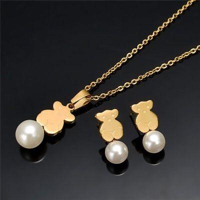 Woman Cute Cartoon Bear Pendant Pearl Chain Necklace Earrings Jewelry - Chain Pearl Jewelry Set