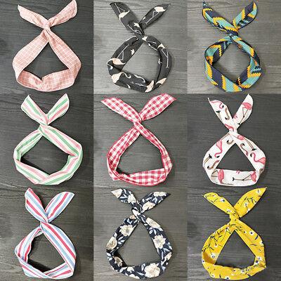 Vintage Women Cute Bow Rabbit Bunny Ear Ribbon Hair Band Wire Headband Wrap New (Bunny Headbands)