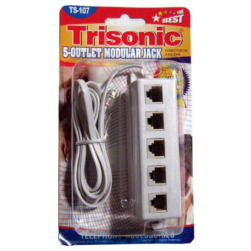 5 Outlet Modular Phone Jack Telephone Line Adapter Splitter Cables DSL Modem NEW