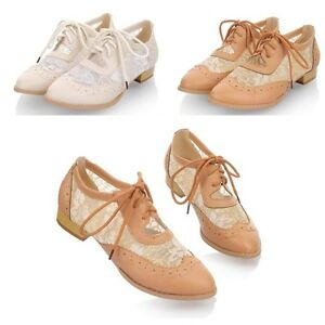 Womens-Sexy-Lace-Mesh-Brogue-Flats-Oxfords-low-Heel-Sandle-Shoes-Us-5-8-5