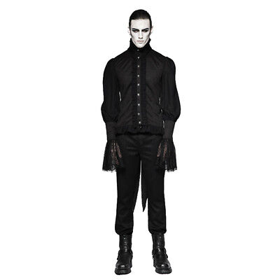 PUNKRAVE BLACK GOTHIC VAMPIRE VINTAGE LACE PUFF SLEEVES BROCADE GOTH SHIRT Y-739 Clothing, Shoes & Accessories