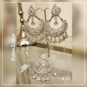 Silver Earings with tikka