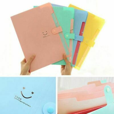 Plastic Expanding File Folders Accordion Document Organizer 5-pocket A4 Lett 7w1