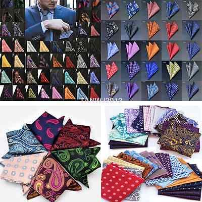 """100 Color 10""""  Men's Vintage Handkerchief 100% Silk Man Pocket Square Suit Hanky"""