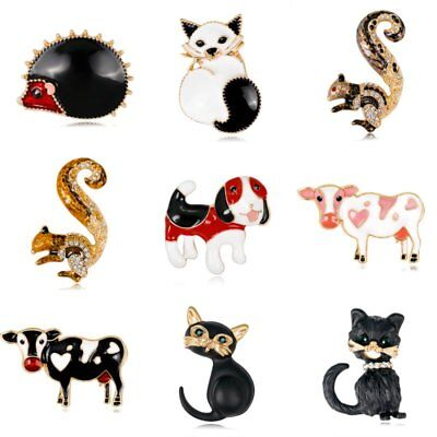 Halloween Lovely Animals Cat Dog Squirrel Crystal Brooch Pin Women Party Jewelry - Halloween Squirrel