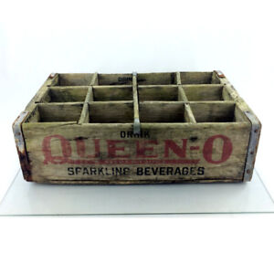 Vintage Queen O Wood Crate Soda Pop 1961 Wooden Advertising Box