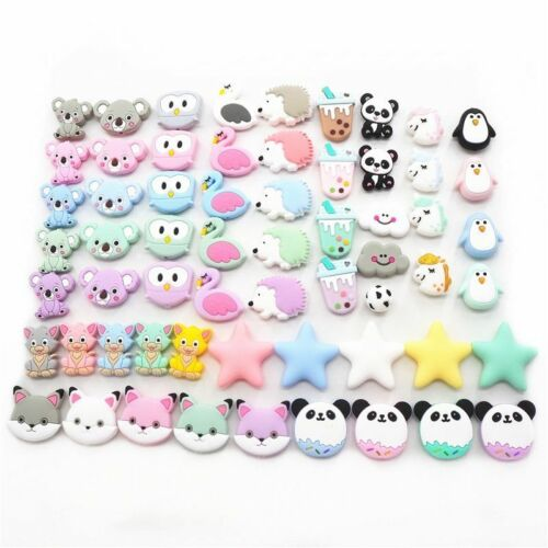 10pc Silicone Teether Beads Baby Shower Teething Montessori Sensory BPA Free Toy