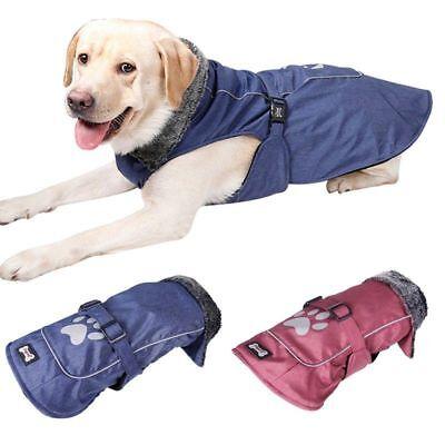 (Pet Clothes Adjustable Warm Coat Large Dog Plush Neck Jacket Paw Decor Apparel)