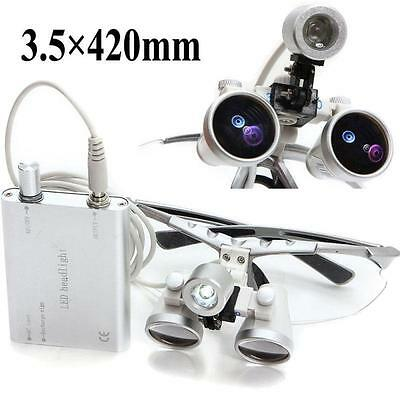 Dentist Dental Surgical Binocular Loupes With Dental Led Head Light Lamp Usa