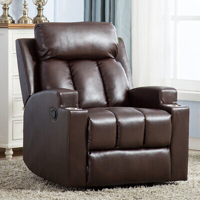 Manual Recliner Chair PU Leather Theater Recliner With 2 Cup Holders -