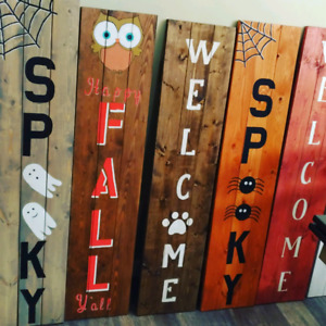 Wooden porch signs