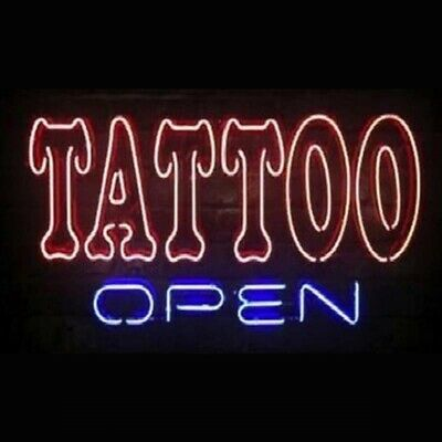 New Tattoo Open Real Glass Neon Sign Bar Pub Gift - Neon Tattoo