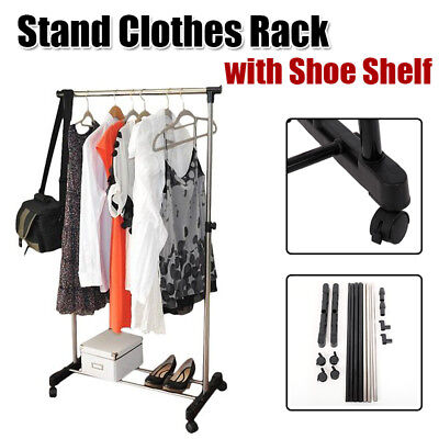 Heavy Duty Metal Clothes Rail With Shoe Rack Storage Hat Coat Stand ()