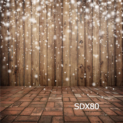 10x10FT Xmas Snowflakes Rustic Wood Backdrop Vinyl Photo Background Studio Props