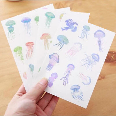 4pcs/lot Cute Jellyfish Art Flakes Transparent Diary DIY Sticker - Diy Jellyfish