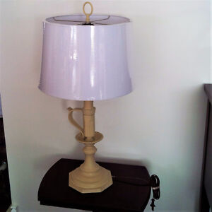 Tan and white lamp,new shade (solid brass base)
