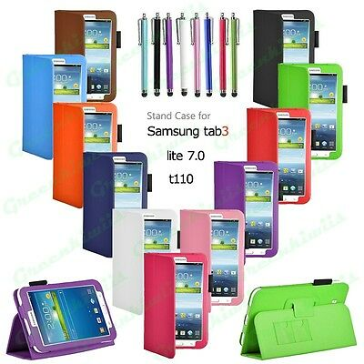 Premium Folio Stand Leather Case Cover For Galaxy Tab 3 Lite 7.0 inch T110/T111