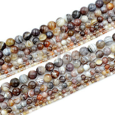 Natural Botswana Agate (Grade AAA Natural Smooth & Faceted Botswana Agate Gemstone Round Beads)