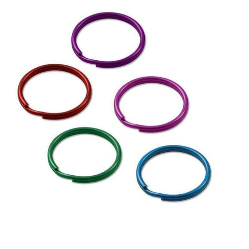 """Lucky Line 79401 Key Ring 10 Count 1"""" Tempered Steel Assorted Colors"""