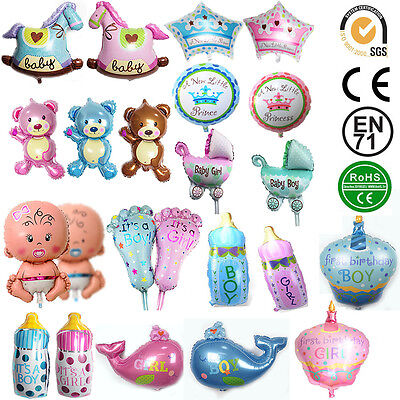2pcs Cute Baby Boy Shower Balls Helium Foil Balloons Birthday Party Decorations - Baby Boy Helium Balloons