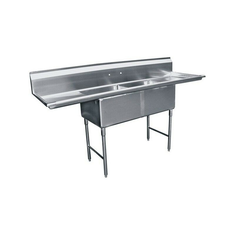 "2 Compartment Stainless Steel Sink 18""x24"" 2 Drainboard"