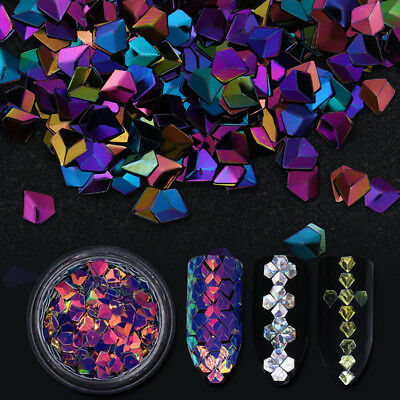 6 Boxes Holographic Chameleon Nail Art Laser Sequins Colorful Flakes 3D Decors - Art Boxes