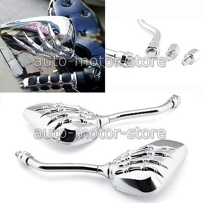 UNIVERSAL CHROME SKELETON SKULL HAND CLAW MOTORCYCLE REAR VIEW MIRRORS 8/10MM US - Skull Hand