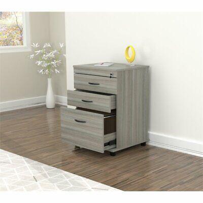 Inval Uffici Smoke Oak Locking File Cabinet