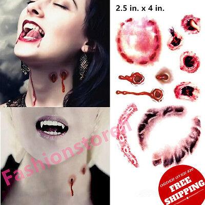 Vampire Bite Temporary Tattoos (2019 Halloween Cosplay Zombie Vampire Bite Bloody Tooth Print Temporary)