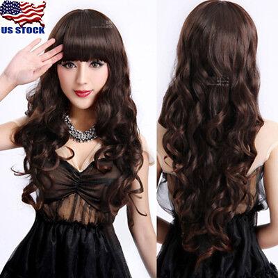 Women Bangs Long Dark Brown Wavy Curly Hair Anime Cosplay Party Full Wig Wigs US - Brown Long Hair Wig