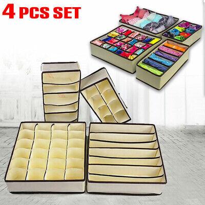 Foldable Storage Box Bra Underwear Closet Organizer Drawer Divider Kit Set of 4 ()