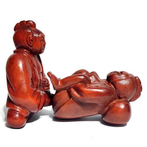 "Q4320 - 2"" Hand Carved Japanese Boxwood Netsuke : Oriental Man and Womana"