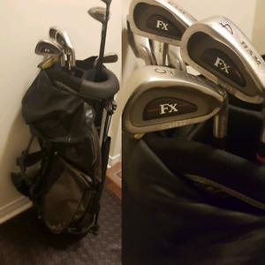 Righty Ram fx steel shafted clubs, bag Balls/tees/glove/shoes