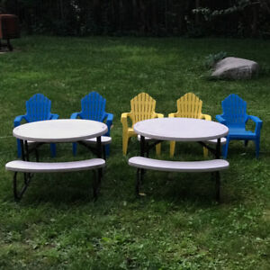 Two tables with benches and 5 chairs for children 2-5 years